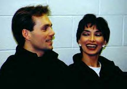 Evgeny and Maya backstage at the 1999 World Professional Championships